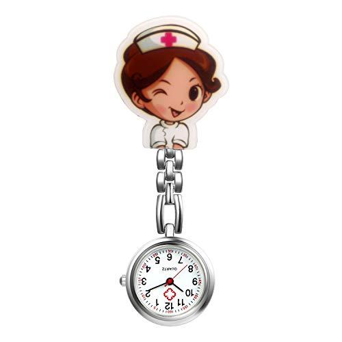 Reloj de enfermera con segunda mano para enfermeras y mujeres, 1-5 unidades, diseño de dibujos animados con clip, colgante de solapa para colgar en la clínica, estetoscopio, insignia de cuarzo