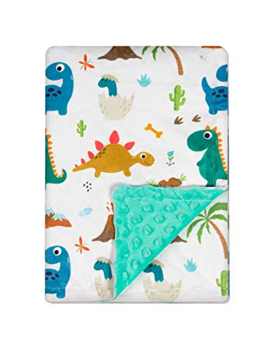Baby Blanket for Boys Girls Double Layer Soft Plush Minky Blanket with Dotted Backing, Toddler Baby Newborn Blanket Shower Gifts (Green Dinosaur, 30 X 40 inches)