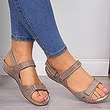 DZQQ Sandalias Planas para Mujer, Verano 2020, Punta Abierta, Cuero sintético sólido, Zapatos ortopédicos para Mujer, Plataforma Informal, Gladiador de Roma para Mujer