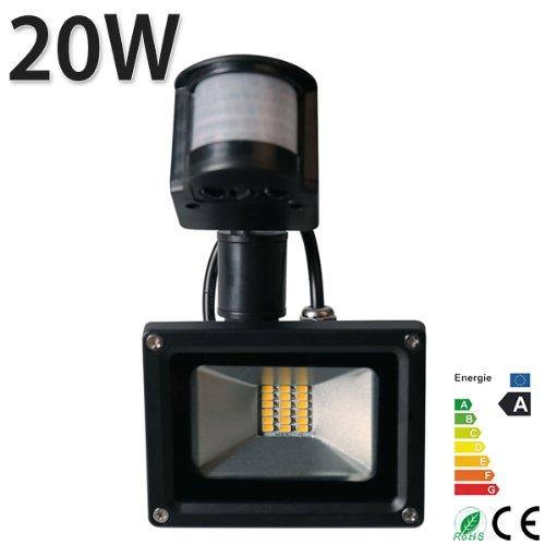 Himanjie® LED-Außenstrahler mit Bewegungsmelder, wasserdicht (IP65), warmweißes Licht (2800K bis 3500K), 20W:Blanc Chaud 20.0 watts 230.00 volts