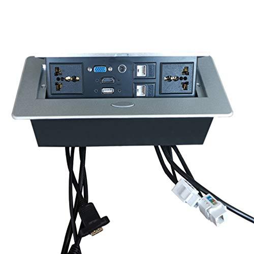 Vosarea caja de alimentación emergente de mesa con cargador usb de potencia caja de conexión de escritorio toma de corriente para cocina de sala de reuniones de conferencia (plateado)