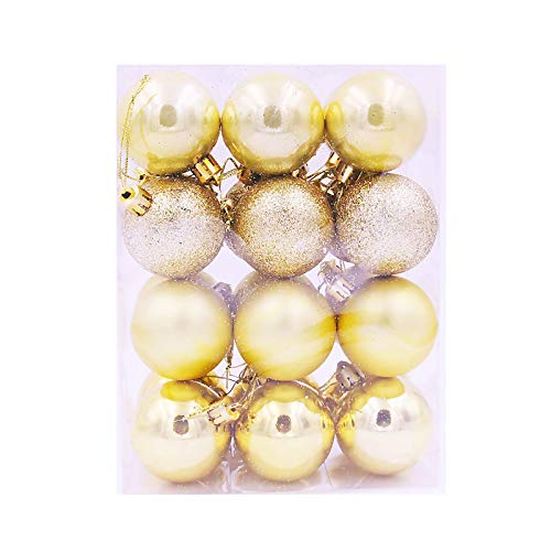 24Pcs Christmas Balls Ornaments for Xmas Christmas Tree - 4 Style Shatterproof Home & Garden Decoration & Hangs Gold