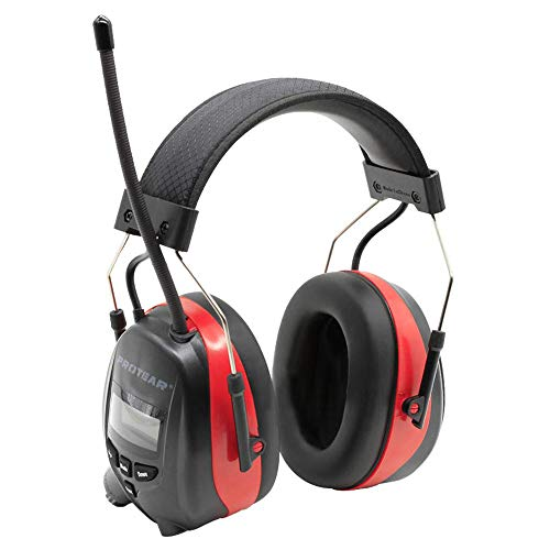 PROTEAR Bluetooth Radio Headphones Wireless Cancelling Hearing Protection, Noise Reduction NRR 25dB Safety Ear Muffs Rechargeable 1200 mAh Lithium Battery Ear Protector for Lawn Mowing Work