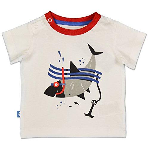 adidas Originals Kinder HAI Shirt Fun Shark Tee HAIFISCH Weiss ROT, Größe:68, Farbe:Weiß