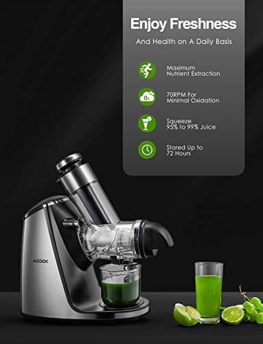 Juicer Machines with 3in Large Feed Chute, AICOOK 200W Slow Masticating Juicer Extractor Easy to Clean. Reverse Function… |