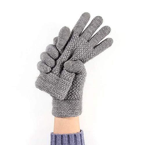 Winterhandschuhe Touchscreen, Handschuhe Unisex Strick Fingerhandschuhe Warme und Winddichte Gloves für Sport, Radfahren und SMS, Perfekt für Damen und Herren( hellgrau)