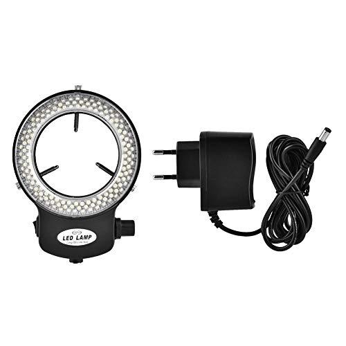 Illuminatore microscopico ad anello regolabile 144 LED Ring Light Illuminator per microscopio stereo.(Bianco nero)(Nero)