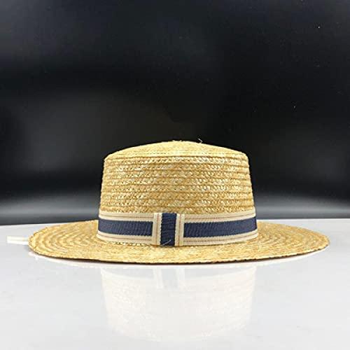 NJJX Sombreros De Sol Planos Sencillos para Niñas De Verano para Mujer, Sombrero De Paja Estilo Panamá, Gorra De Playa con Perlas, 55-58Cm 02