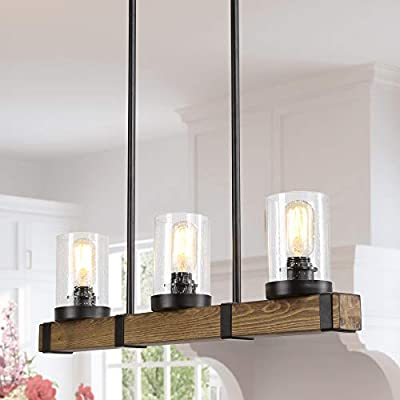 Farmhouse Chandelier for Dingin Rooms,3-Lights Kitchen Island Lighting,Rectangle Wood Chandelier with Seedy Glass Shape