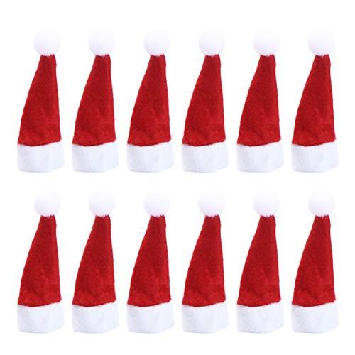 LUOEM 24 Stücke Lollipop Hut Mini Weihnachtsmütze Lollipop Topper Süßigkeiten Verpackung Weinflasche Besteck Abdeckung Puppen Weihnachtshut Puppenhaus Weihnachtsdekoration Weihnachtsschmuck