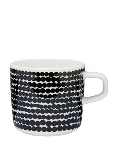 Marimekko - Oiva/Siirtolapuutarha - Kaffeetasse - Weiß/Schwarz/Räsymatto - Ø7,5xH7cm - 2 dl