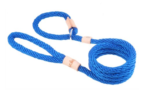 Alvalley Deep Blue Sport Slip Lead with Leather Stop for Dogs Made of Strong Multifilament Polypropylene Rope 13mm X 183cm or 1/2in X 6ft
