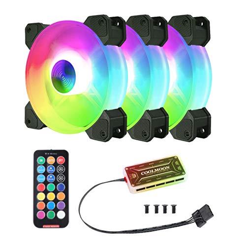 VOSAREA 120 mm datorfläkt RGB-fodral fläktar justerbar tyst PC-kylfläkt för PC-fodral, CPU-kylare, radiatorer