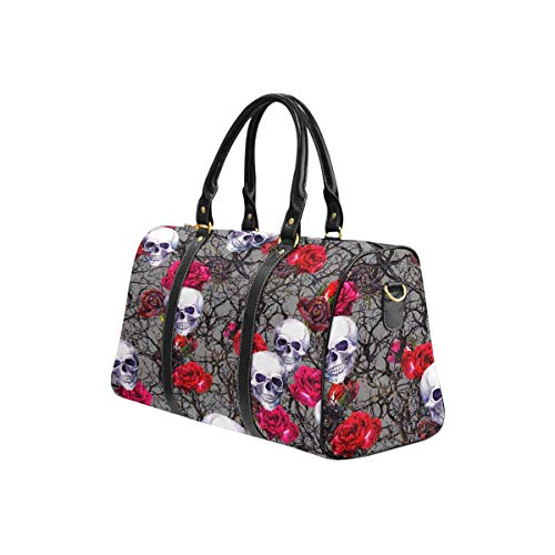 InterestPrint Weekender Bag Travel Duffel Bag for Weekend Overnight Trip Skulls, Rose Flowers and Branches Pattern