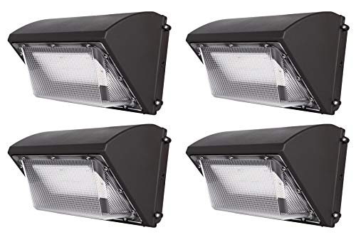 Hyperikon LED Wall Pack, Commercial Outdoor Lighting, UL, DLC, 70 Watts, 4 Pack