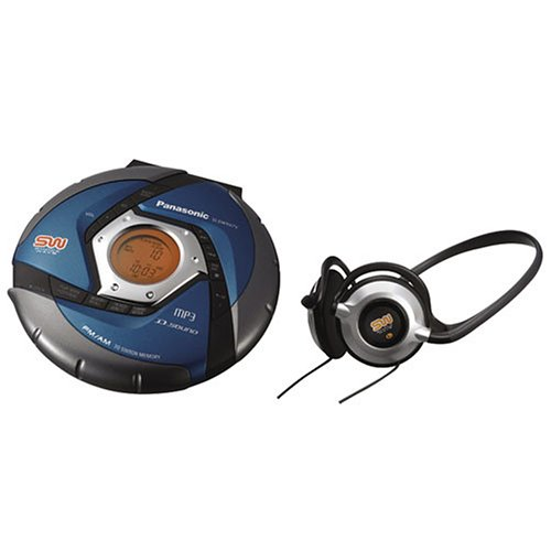 Panasonic SW967 Shockwave Water-Resistant Portable CD / MP3 Player with D.Sound Technology (Blue)