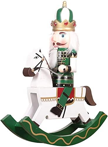 XinQing Cascanueces de Navidad de 11 Pulgadas, Soldado Que Monta la decoración del hogar del día de Fiesta del Cascanueces de Madera del Caballo mecedor Blanco(Color:Green)