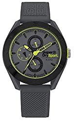 Men's watch Analogue Grey dial Grey silicone strap Superdry