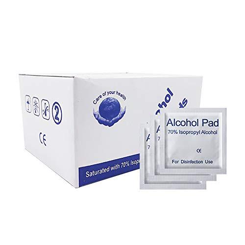 WOWOSS Toallitas Alcohol 75% Desechables 6x6cm, Almohadillas Alcohol Envueltas Individualmente para Limpiar Teléfono, Gafas y Teclado (100 unidades)