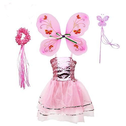 Tante Tina Schmetterling Feenkostüm Mädchen - 4-teiliges Mädchen Kostüm mit Tüllkleid, Flügel, Zauberstab und Haarreif - Rosa - geeignet für Kinder von 2 bis 8 Jahren