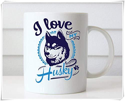 WTOMUG I Love My Husky, Husky Mug, Siberian Husky Coffee Mugs, Husky Coffee Mug, Husky Mom, Husky Gift, Siberian Husky Cups, Husky Dog Mugs, 11oz Ceramic Coffee Mug/Tea Cup, High Gloss