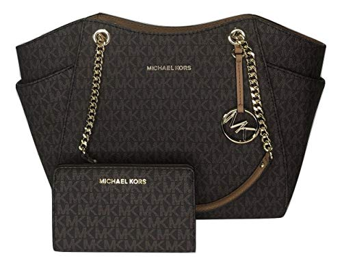 Bundle of 2 items: MICHAEL Michael Kors Jet Set Travel Large Chain Shoulder Tote bundled with Michael Kors Jet Set Travel Slim Bifold Wallet Double top handles with chain detail in gold, Three quarter zippered top closure with side gusset pockets Int...