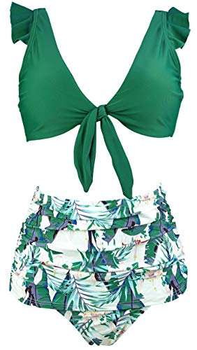 COCOSHIP Jolly Green & White Forest Monstera Leaves Retro High Waist Shirred Bikini Set Tie Front Closure Top Ruffle Bath Swimsuit 12
