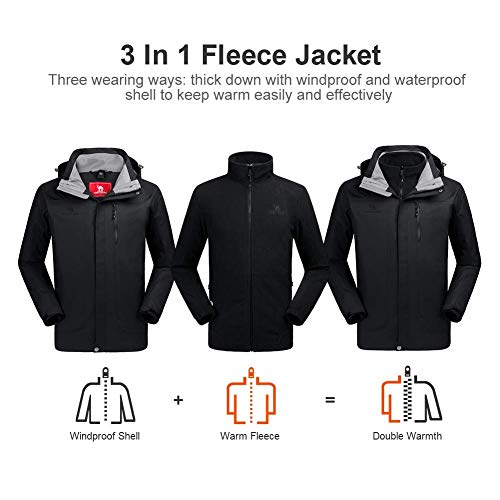CAMEL CROWN Men 3 in 1 Waterproof Jacket with Hood Windproof Rain Jacket with fleece Warm Inner Ski Coats