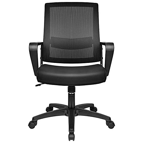BASETBL Ergonomic Office Chair, Computer Desk Swivel Chairs with Adjustable Lumbar Support, Reinforced Breathable Fabric Mesh and Armrest, for Conference Work Executive Manager Study (Black)