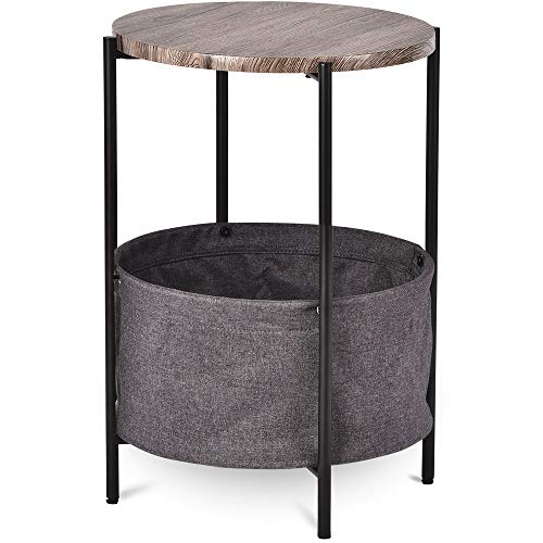 Amolife 24 Inch Small End Table/Side Table with Fabric Storage Basket/Industrial Round Bedside Table/Accent Table with Rustic Wood Top and Black Metal Frame/Coffee Table/Bedroom Nightstand