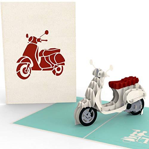 3D-Pop-Up-Karte mit Motorroller - z.B. zum Führerschein