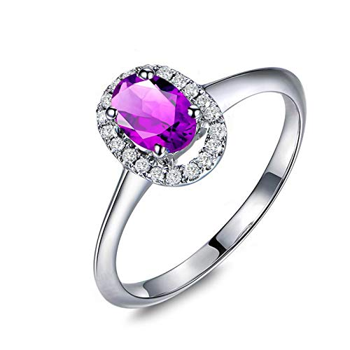 Adokiss Jewellery Women Ring Silver 925, Oval Cut Purple Cubic Zirconia with White Round Cubic Zirconia Valentine Ring for Girlfriend, Silver, Size M 1/2