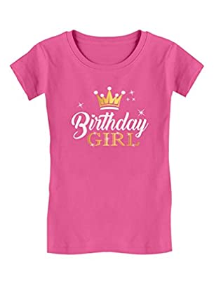 Birthday Girl Party Shirt Princess Crown Girls Fitted T-Shirt M (5-6T) Wow Pink