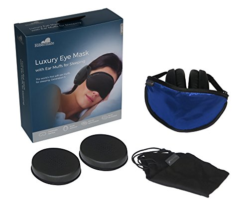 Sleep Mask (with Ear Muffs) for Sleeping Black Hibermate – Luxury Eye Mask with Ear Muffs. Blocks...