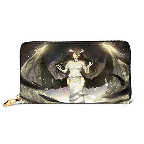 IUBBKI Carteras de Piel Carteras de Mujer OverlordAlbedo Anime Women's Leather Zip Wallet,Cartoon Kawaii Leather Craft Foldable Wallet