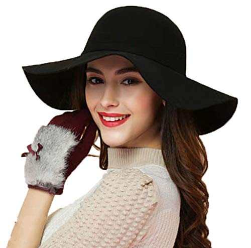 ASSQI Women's Foldable Wide Brim Retro Fedora Floppy Felt Bowler Hat Black