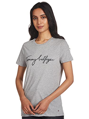 Tommy Hilfiger Mujer Heritage Crew Neck Graphic tee Camiseta Not Applicable, Gris (Light Grey Htr 039), Large