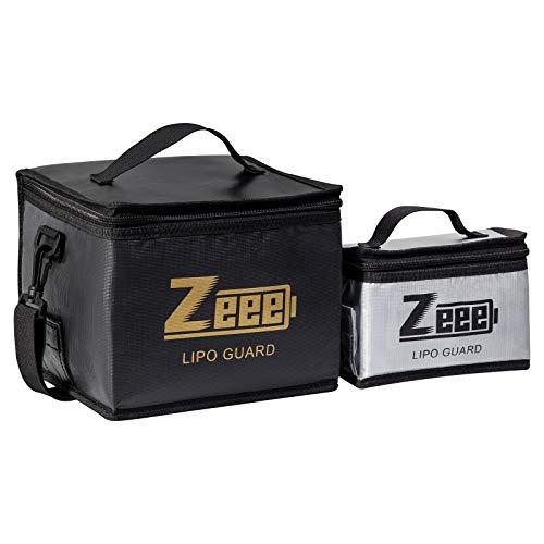 Zeee Lipo Safe Bag - Bolsa ignífuga y a prueba de explosiones para guardar batería de polímero de litio de gran capacidad, bolsa protectora para cargar y guardar (negro y plateado)