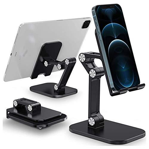 ZHJDX Soporte para teléfono móvil de Escritorio Plegable para Soporte de teléfono móvil de Mesa Universal (Color : Black)