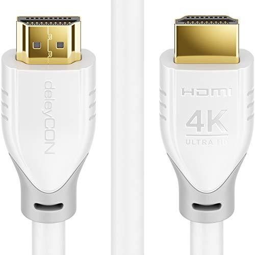 deleyCON 2m HDMI Kabel 2.0 a/b - HDR 10+ UHD 2160p 4K@60Hz YUV 4:4:4 HDR HDCP 2.2 3D ARC Dolby Digital + Dolby Atmos - Weiß Grau