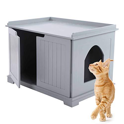 Katzenhaus, Höhle für Katzen und kleine Hunde, Katzentoilette, MDF, E1, 75 x 51 x 52 cm, Grau