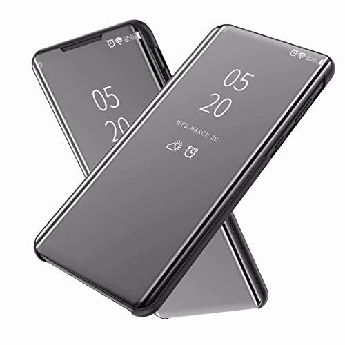 FanTing Hülle für Asus Zenfone 6 ZS630KL,Halbdurchsichtiger Spiegel Smart Cover, Hüllen für Asus Zenfone 6 ZS630KL -Schwarz
