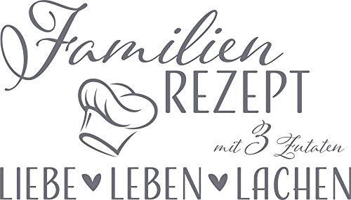 GRAZDesign Geschenke für Eltern Familientattoo - Wandtattoo Sprüche Zitate Lustiges Motiv - Wandtattoo Familien Rezept / 70x40cm / 071 grau