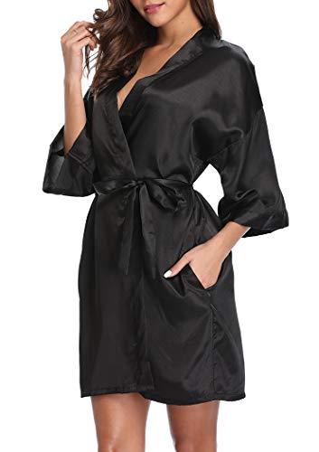 VOGMATE Short Robe for Women Bridesmaid Bride Silk Kimono Robe Dressing Gown for Wedding Party, M