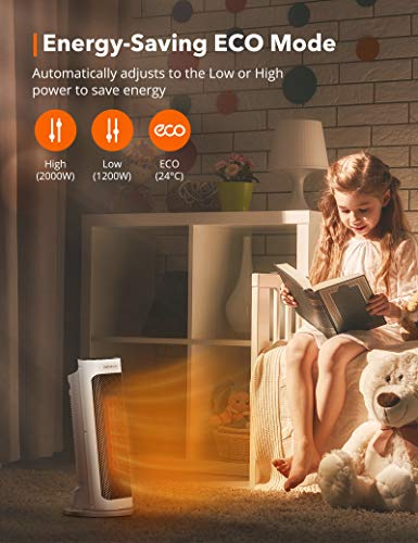 414Ge3XL4zL - TaoTronics Fan Heater, Ceramic Fan Heater with Remote Control 2 Heating Levels (2000W / 1200W), Bathroom Energy-Saving…