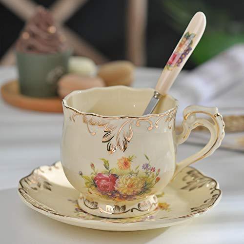 Funny Mugs Taza de café de cerámica creativa y platillo pintado a mano de porcelana de rosa taza de té y cuchara clásica 250 ml 250 ml