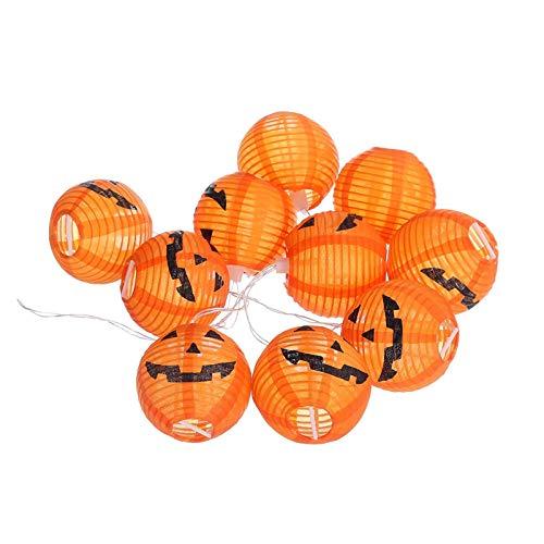 Linternas de camping 1 Set 10 LED de la calabaza luces de cadena 3D del partido de Halloween Linterna Inicio la decoración de DIY 1.2M blanco caliente de la luz con pilas Exterior