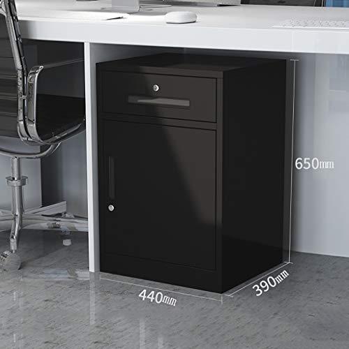 2 gesloten ladekasten, zwarte lades set systeembox gegevensslot 440 × 390 × 650 mm 1.6mm thickness