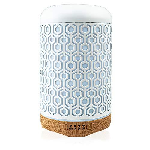 Aroma Diffuser Luftbefeuchter 260ml - BonAir Ultraschall Düfte im Warben Metall Stil weiß LED 7 Farben für Wohnung und Haus im Wohnzimmer, Schlafzimmer, Büro, Yoga, Spa LED für Baby Kinderzimmer