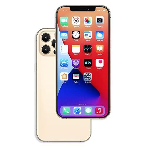 Raytonee Teléfono falso modelo metálico [2nd Gen] pantalla falsa réplica de teléfono móvil juguete para Phone 12 Pro 6,1 pulgadas (pantalla de menú dorado)